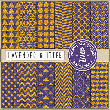 Glitter Digital Paper, Gold  & Lavender Patterns {Pretty Graphics}