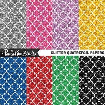 Glitter Digital Paper - Quatrefoil