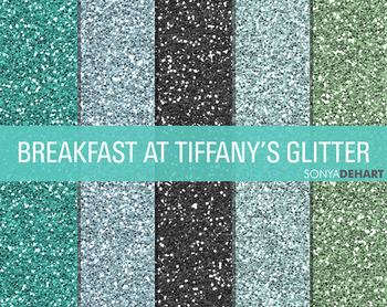 Glitter Digital Paper Textures Breakfast at Tiffany's