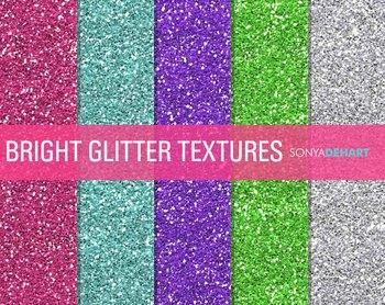 Glitter Digital Paper Textures Bright Glitter