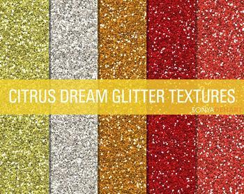 Glitter Digital Paper Textures Citrus Dream