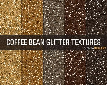 Glitter Digital Paper Textures Coffee Bean