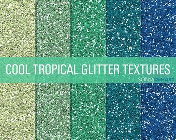 Glitter Digital Paper Textures Cool Tropicals