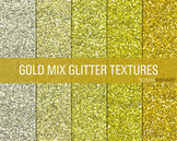 Glitter Digital Paper Textures Gold Mix
