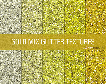 Glitter Digital Paper Textures Gold Mix