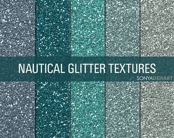 Glitter Digital Paper Textures Nautical Glitters