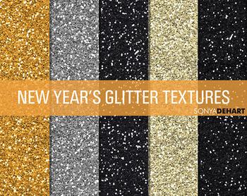 Glitter Digital Paper Textures New Years Glitters