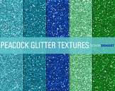 Glitter Digital Paper Textures Peacock Glitters