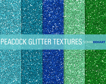 Glitter Digital Paper Textures Peacock Glitters