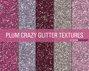 Glitter Digital Paper Textures Plum Crazy