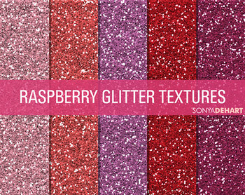 Glitter Digital Paper Textures Raspberry Glitters