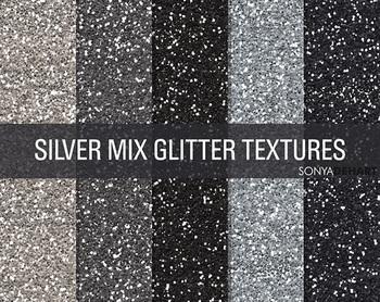 Glitter Digital Paper Textures Silver Mix