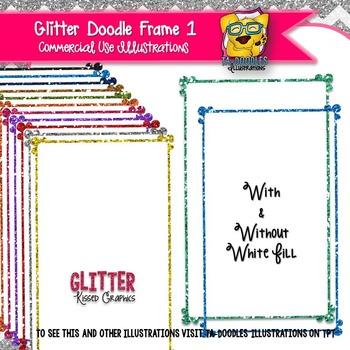 Glitter Doodle Frames 1 Clip Art