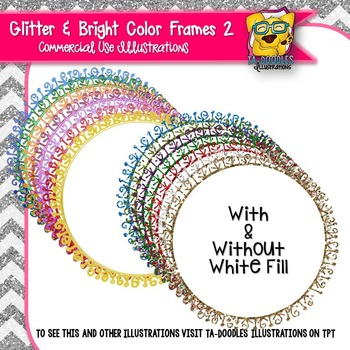 Glitter Doodle Frames 2 Clip Art - Round Circle