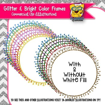 Glitter Doodle Frames Clip Art - Round Circle