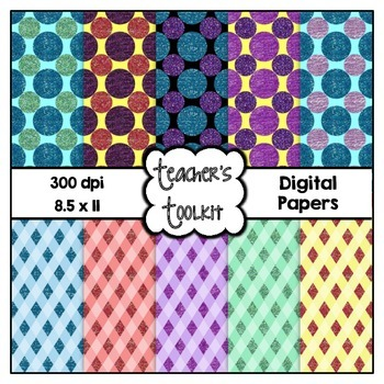 Glitter Dots and Diamonds Digital Background Papers {8.5 x 11} Clip Art CU OK