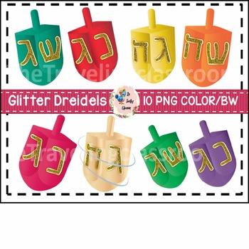 Glitter Dreidels Hanukkah Clip Art (Commercial Use)