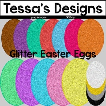 Glitter Easter Eggs Clip Art