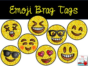 Glitter Emoji Brag Tags for Big Kids Growing Bundle