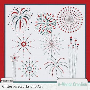 Glitter Fireworks Clip Art