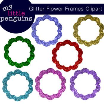 Glitter Flower Frame Clipart (clip art png format)