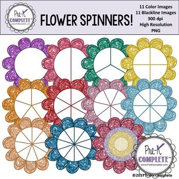 Glitter Flower Spinners Clip Art