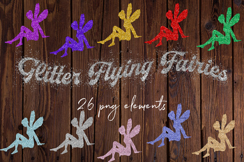 Glitter Flying Fairies Clipart