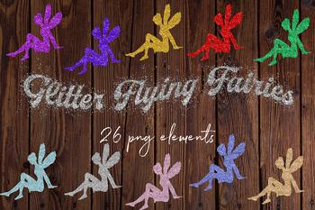 Fairy glitter. Flying fairies sparkle clipart