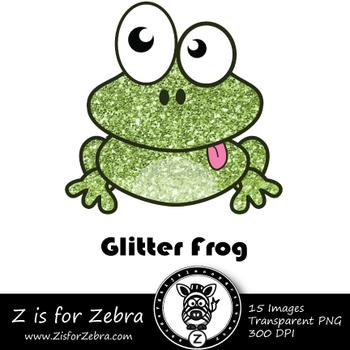 Glitter Frog Clip art - Commercial Use OK { Z is for Zebra}
