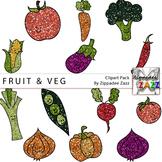 Glitter Fruit and Vegetable Clipart - Gardening / Garden Month