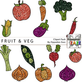 Glitter Fruit and Vegetable Clipart - Gardening / Garden Month