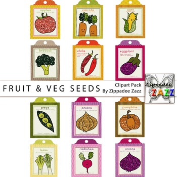 Glitter Fruit and Vegetable Seed Packets Clipart - Gardeni