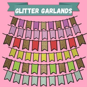Glitter Garlands Clip-art set(Buntings)