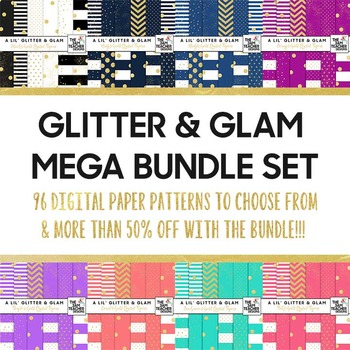 Glitter & Glam Digital Papers Mega Bundle - Save more than 50%