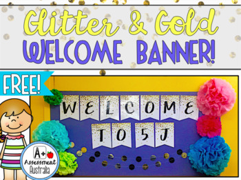 Glitter & Gold WELCOME Banner
