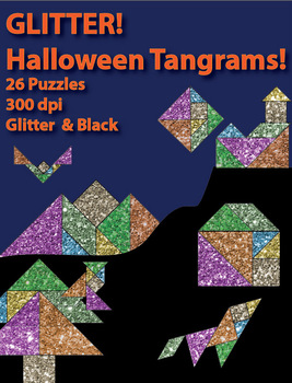 Glitter Halloween Tangrams - 26 puzzles
