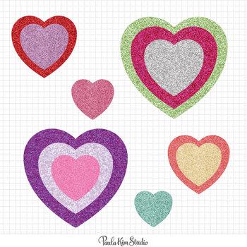 Valentines Day Glitter Hearts
