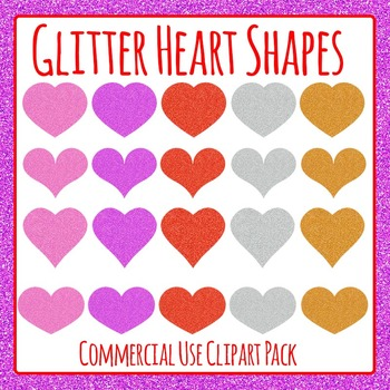 Glitter Heart Shapes Commercial Use Clip Art Set