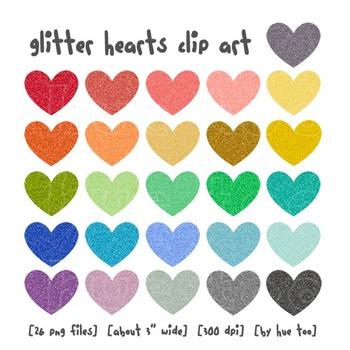 Glitter Hearts Clip Art, Rainbow Colored Hearts, Valentine's Day Clip Art
