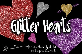 Glitter Hearts Clip Art - Valentine Hearts - 34 Png Clipart