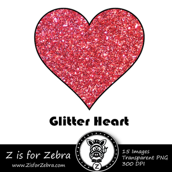 Glitter Hearts Clip art - Commercial Use OK { Z is for Zebra}
