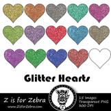 Glitter Hearts Clip art - Commercial Use OK { Z is for Zebra}