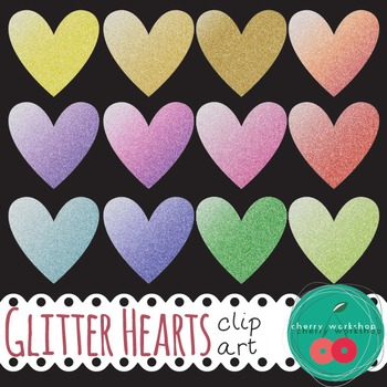 Glitter Hearts - Valentine's Day Clip Art {Commercial Use}