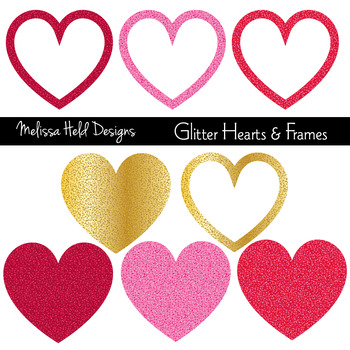 Glitter Hearts and Frames Clipart