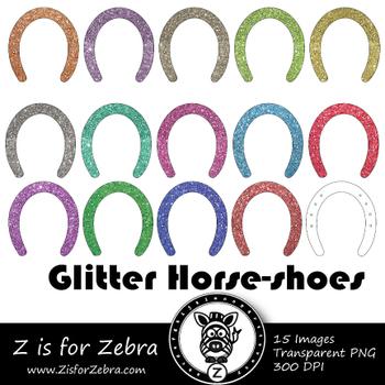 Glitter Horse-shoe Clip art - Commercial Use OK { Z is for Zebra}
