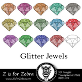 Glitter Jewels Clip art - Commercial Use OK { Z is for Zebra}