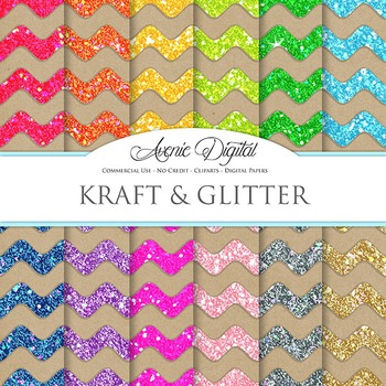 Glitter Kraft Paper Background Chevron Digital Paper scrapbook back to school
