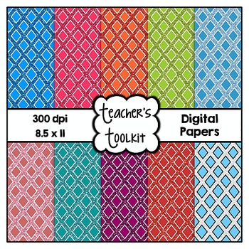 Glitter Lattice Digital Background Papers {8.5 x 11} Clip Art CU OK