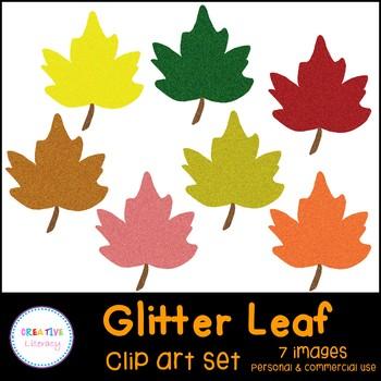 Glitter Leaves Clip Art Set