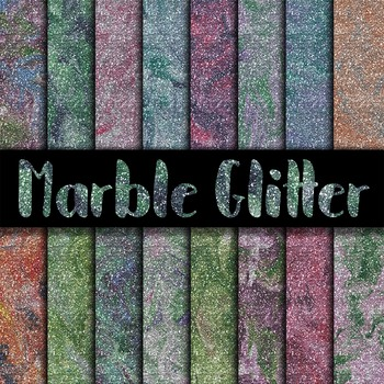 Glitter Marble Digital Paper Textures - 16 Different Papers - 12 x 12